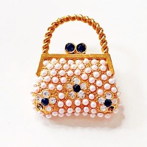 Mini Purse Brooch with Faux Pearls and Rhinestones